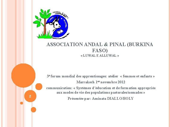 ASSOCIATION ANDAL & PINAL (BURKINA FASO) « LUWAL E ALLUWAL » 3 e forum