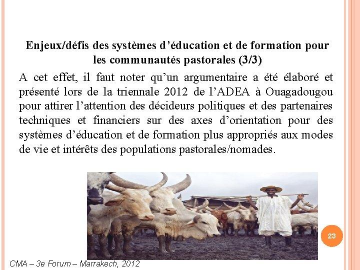 Enjeux/défis des systèmes d'éducation et de formation pour les communautés pastorales (3/3) A cet