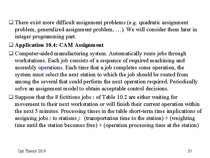 q There exist more difficult assignment problems (e. g. quadratic assignment problem, generalized assignment