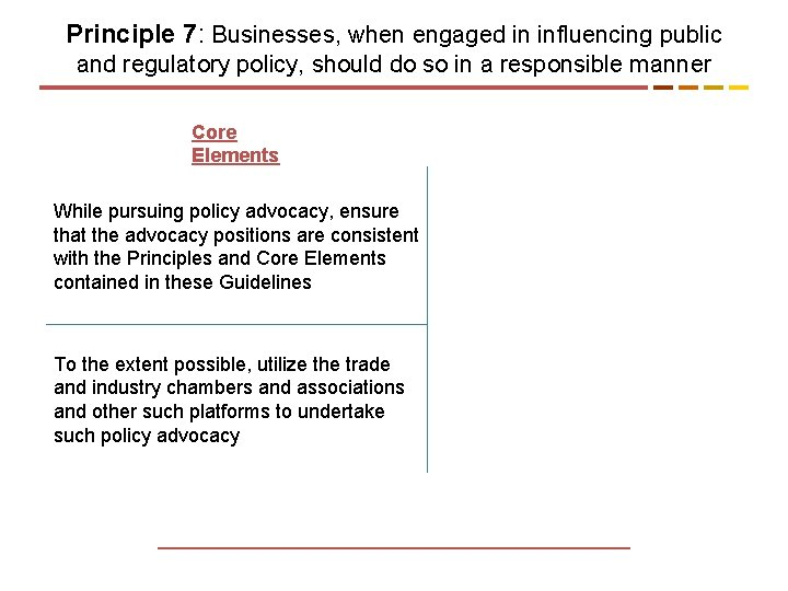 Principle 7: Businesses, when engaged in influencing public and regulatory policy, should do so
