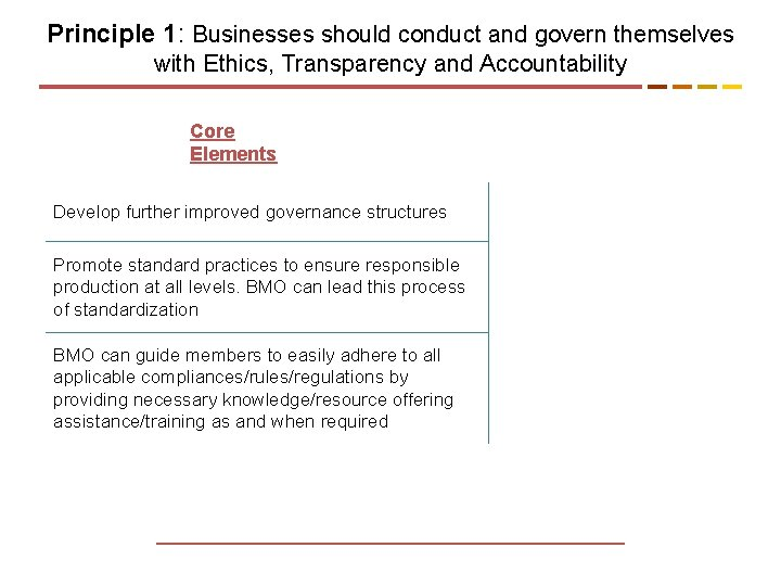 Principle 1: Businesses should conduct and govern themselves with Ethics, Transparency and Accountability Core
