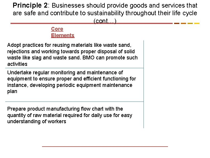 Principle 2: Businesses should provide goods and services that are safe and contribute to