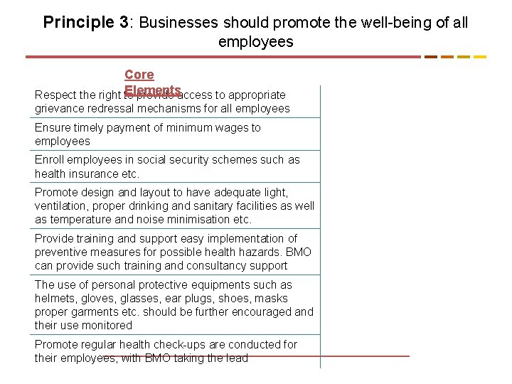 Principle 3: Businesses should promote the well-being of all employees Core Elements Respect the