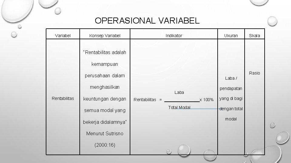 """OPERASIONAL VARIABEL Variabel Konsep Variabel Indikator Ukuran Skala """"Rentabilitas adalah kemampuan Rasio perusahaan dalam"""