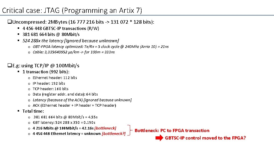 Critical case: JTAG (Programming an Artix 7) q Uncompressed: 2 MBytes (16 777 216