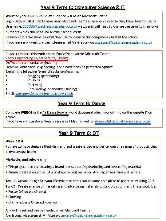 Year 9 Term 6: Computer Science & IT Work for year 9 ICT &