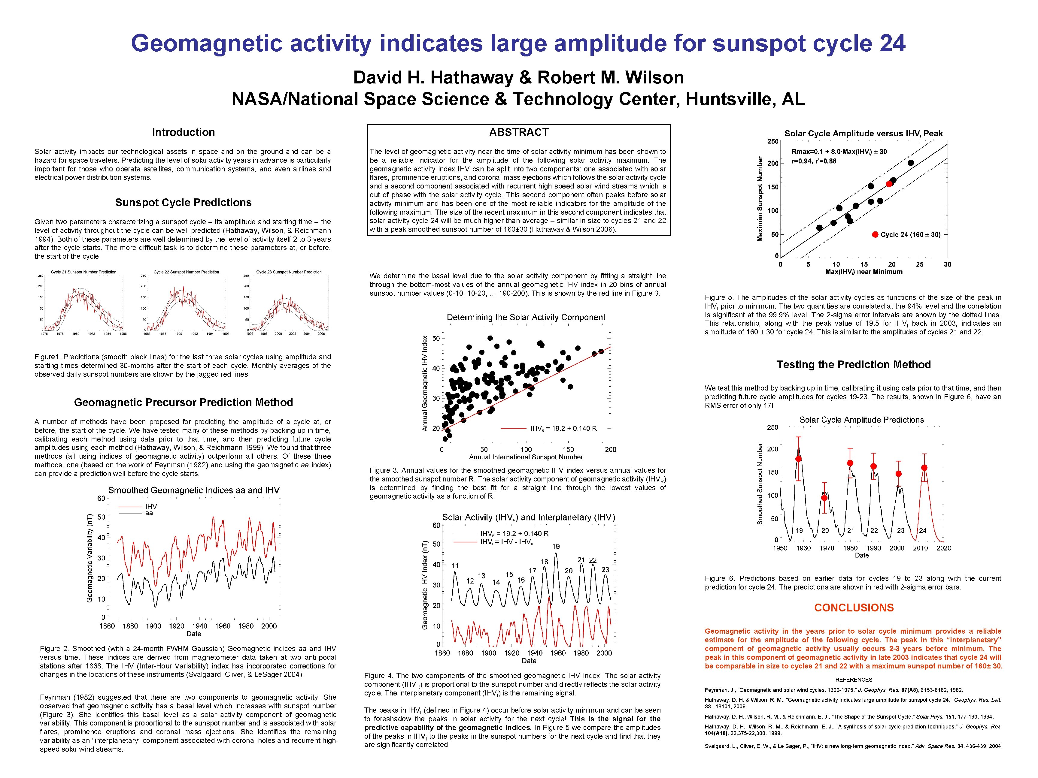 Geomagnetic activity indicates large amplitude for sunspot cycle 24 David H. Hathaway & Robert