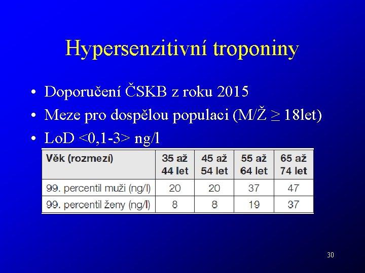Hypersenzitivní troponiny • Doporučení ČSKB z roku 2015 • Meze pro dospělou populaci (M/Ž