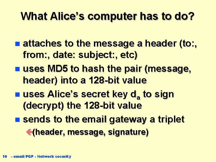 What Alice's computer has to do? attaches to the message a header (to: ,
