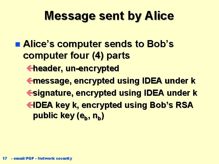 Message sent by Alice n Alice's computer sends to Bob's computer four (4) parts