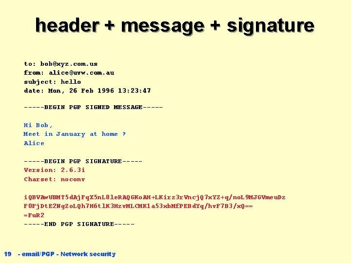 header + message + signature to: bob@xyz. com. us from: alice@uvw. com. au subject: