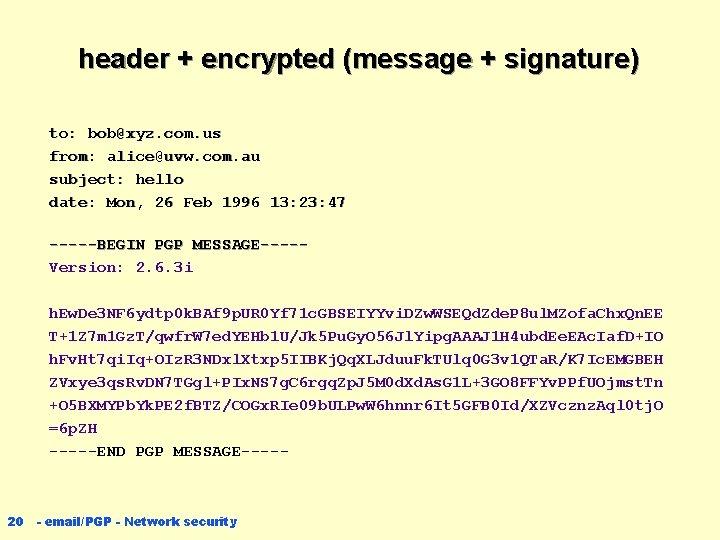 header + encrypted (message + signature) to: bob@xyz. com. us from: alice@uvw. com. au