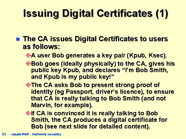 Issuing Digital Certificates (1) n The CA issues Digital Certificates to users as follows: