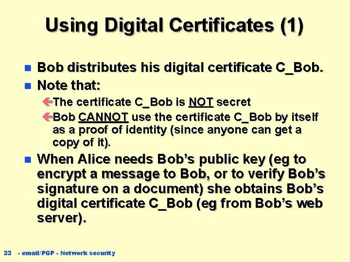 Using Digital Certificates (1) n n Bob distributes his digital certificate C_Bob. Note that: