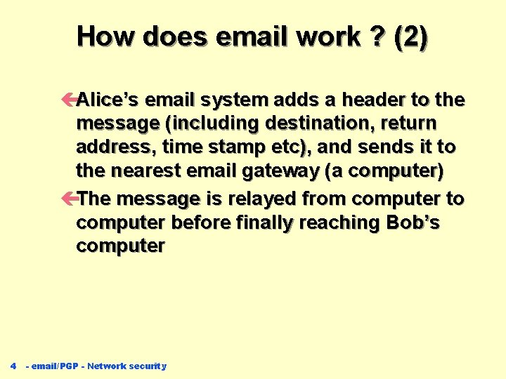 How does email work ? (2) çAlice's email system adds a header to the