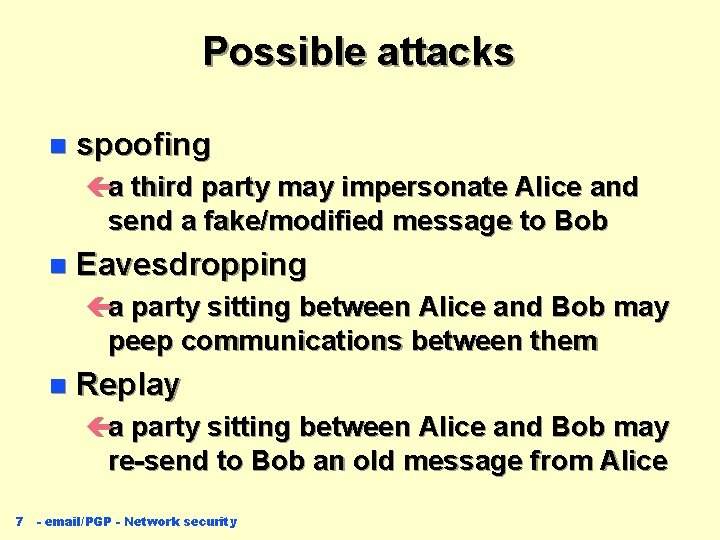 Possible attacks n spoofing ça third party may impersonate Alice and send a fake/modified