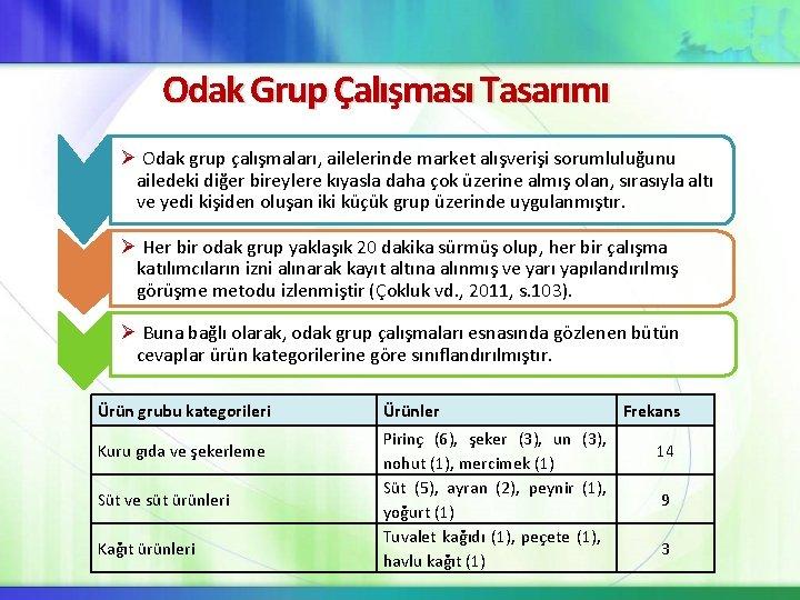 Odak Grup Çalışması Tasarımı Ø Odak grup çalışmaları, ailelerinde market alışverişi sorumluluğunu ailedeki diğer