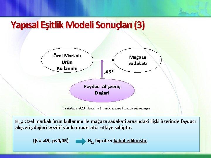 Yapısal Eşitlik Modeli Sonuçları (3) Özel Markalı Ürün Kullanımı Mağaza Sadakati , 45* Faydacı