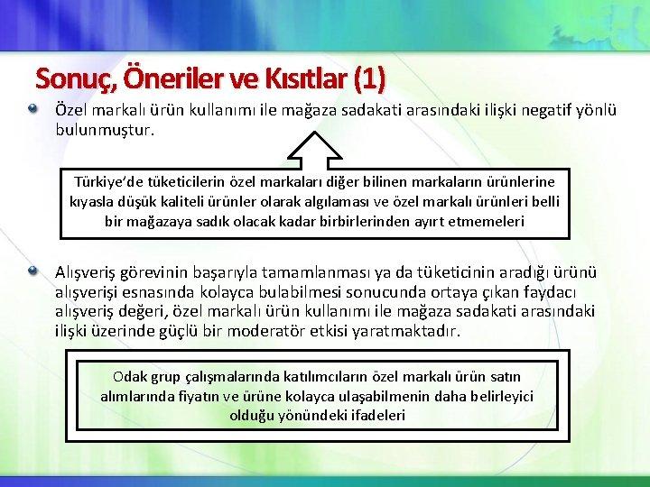 Sonuç, Öneriler ve Kısıtlar (1) Özel markalı ürün kullanımı ile mağaza sadakati arasındaki ilişki