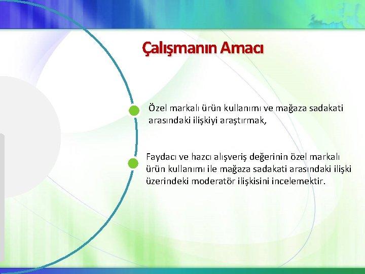 Çalışmanın Amacı Özel markalı ürün kullanımı ve mağaza sadakati arasındaki ilişkiyi araştırmak, Faydacı ve