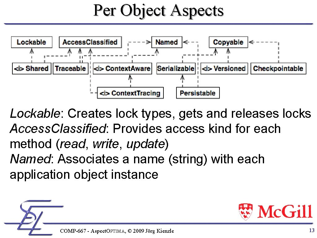 Per Object Aspects Lockable: Creates lock types, gets and releases locks Access. Classified: Provides