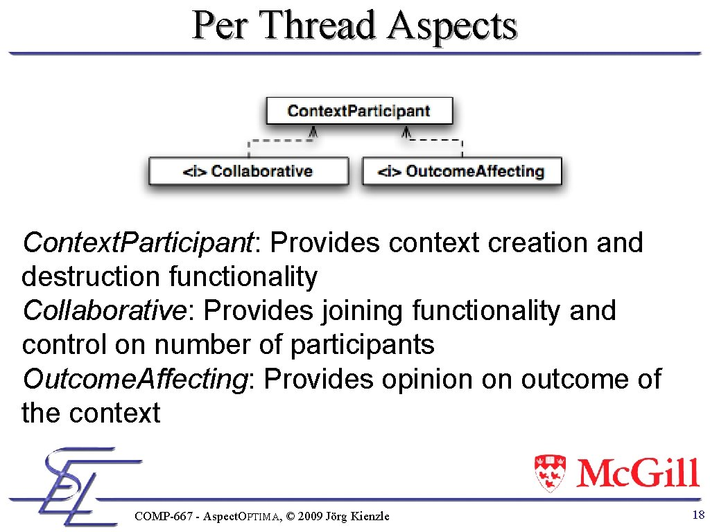 Per Thread Aspects Context. Participant: Provides context creation and destruction functionality Collaborative: Provides joining