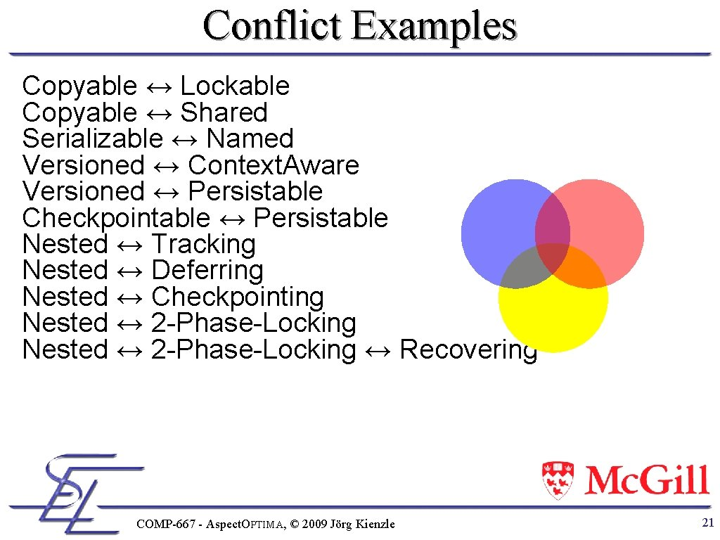 Conflict Examples Copyable ↔ Lockable Copyable ↔ Shared Serializable ↔ Named Versioned ↔ Context.