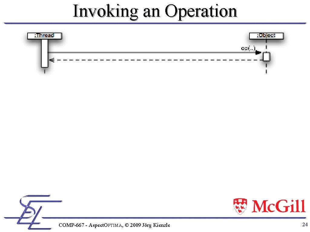 Invoking an Operation COMP-667 - Aspect. OPTIMA, © 2009 Jörg Kienzle 24