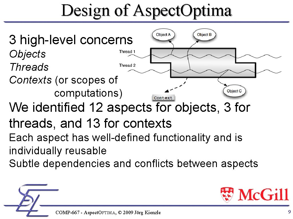 Design of Aspect. Optima 3 high-level concerns Objects Threads Contexts (or scopes of computations)