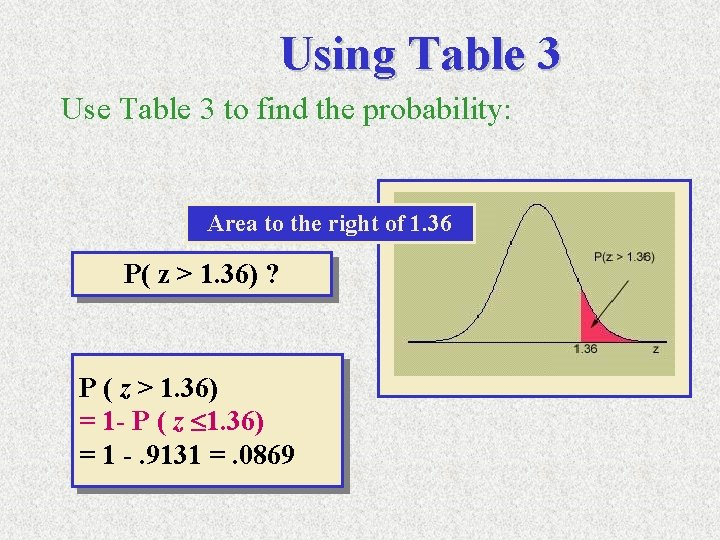Using Table 3 Use Table 3 to find the probability: Area to the right