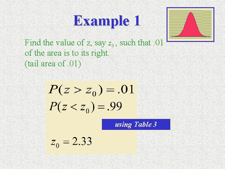 Example 1 Find the value of z, say z 0 , such that. 01