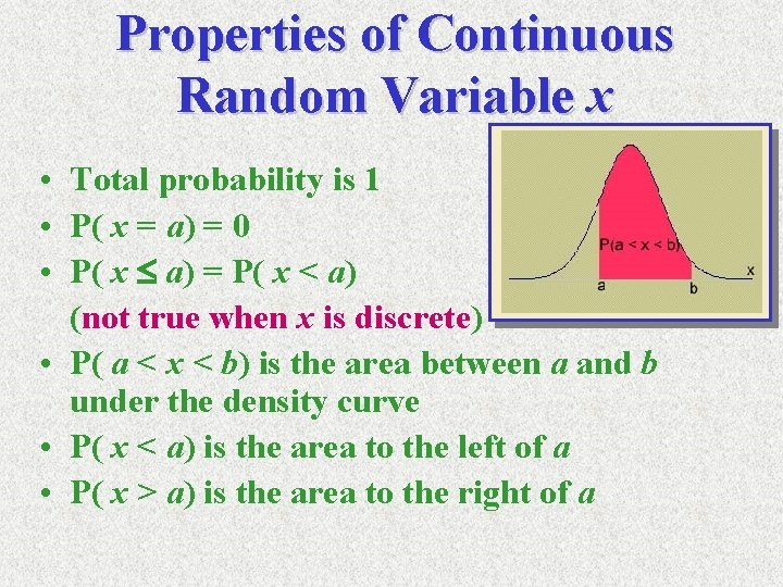 Properties of Continuous Random Variable x • Total probability is 1 • P( x