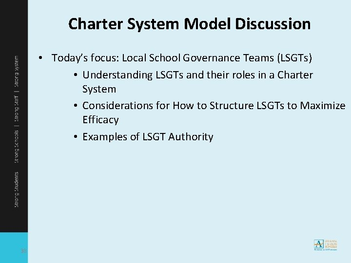 Charter System Model Discussion • Today's focus: Local School Governance Teams (LSGTs) • Understanding