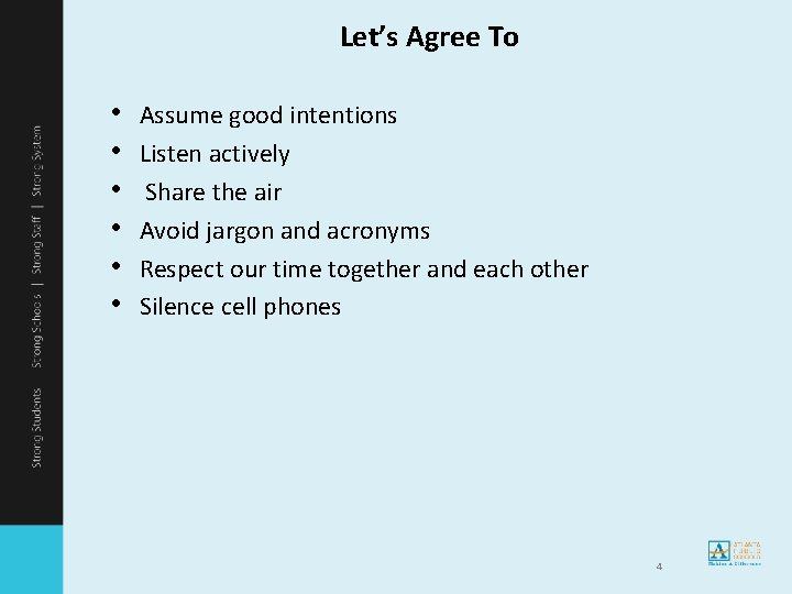 Let's Agree To • • • Assume good intentions Listen actively Share the air