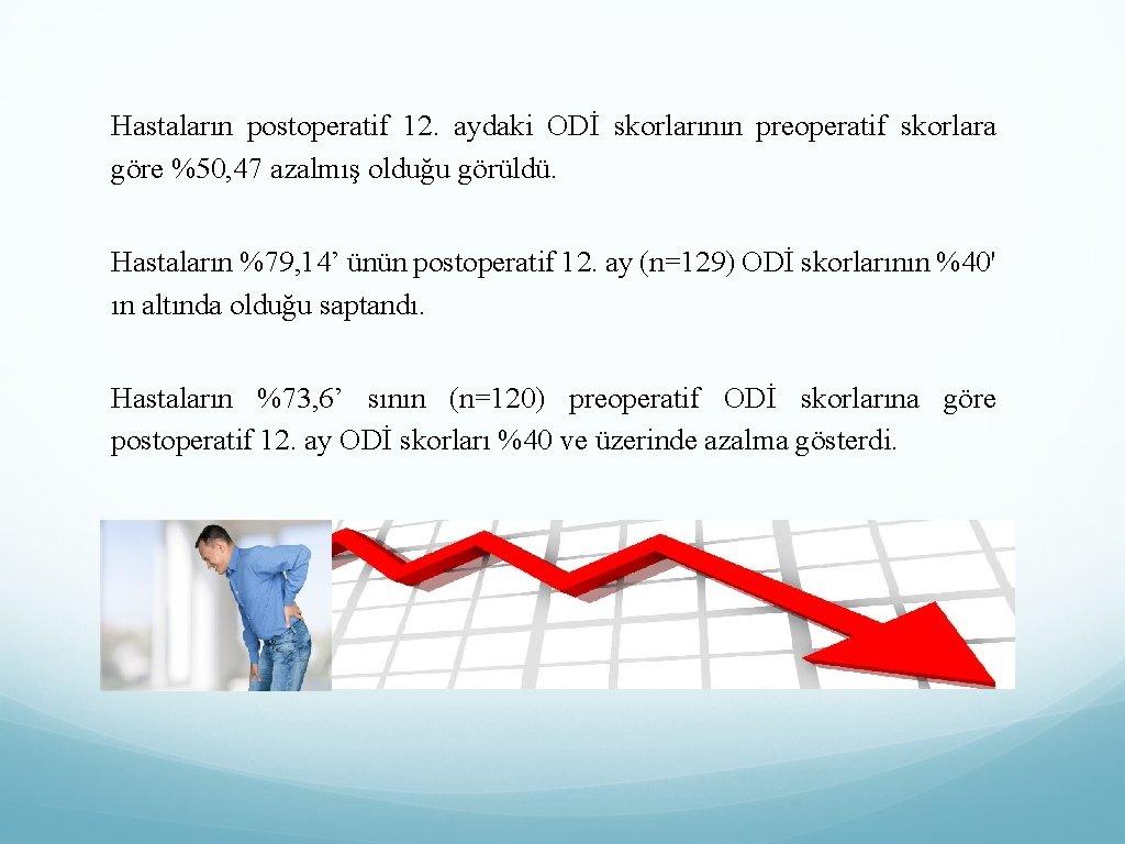 Hastaların postoperatif 12. aydaki ODİ skorlarının preoperatif skorlara göre %50, 47 azalmış olduğu görüldü.