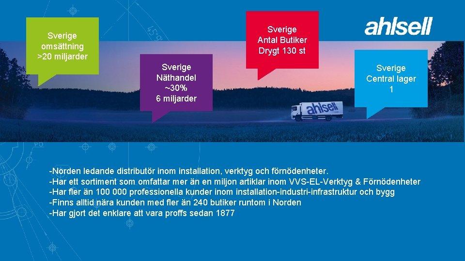 Sverige Antal Butiker Drygt 130 st Sverige omsättning >20 miljarder Sverige Näthandel ~30% 6