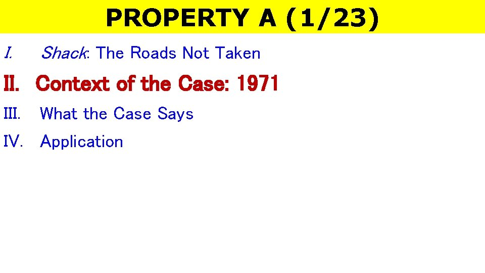 PROPERTY A (1/23) I. Shack: The Roads Not Taken II. Context of the Case: