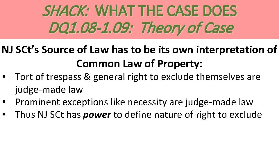 SHACK: WHAT THE CASE DOES DQ 1. 08 -1. 09: Theory of Case NJ
