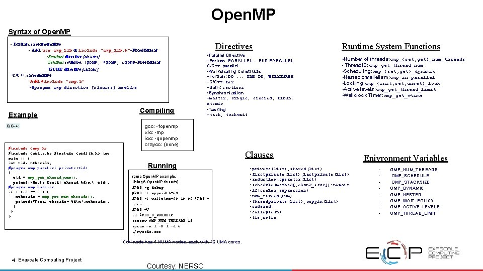 Open. MP Syntax of Open. MP - Fortran: case-insensitive - Add: use omp_lib or
