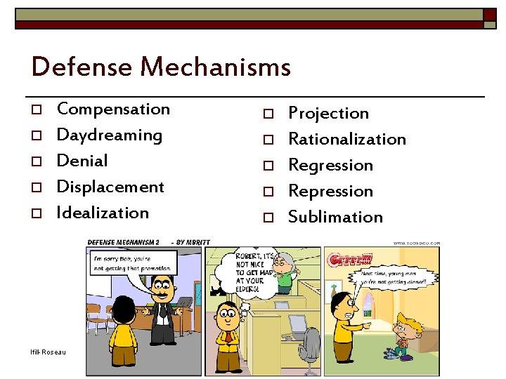 Defense Mechanisms o o o Compensation Daydreaming Denial Displacement Idealization Ifill-Roseau o o o