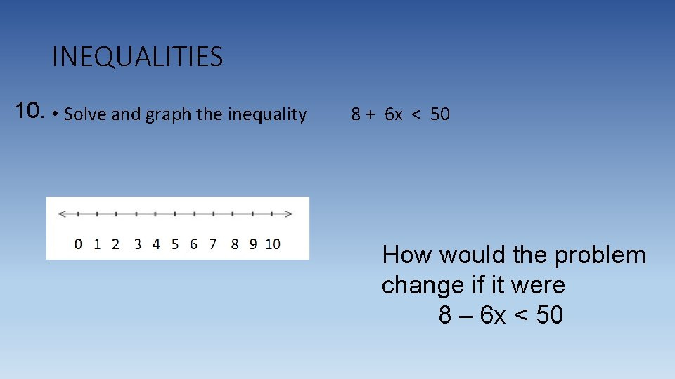 INEQUALITIES 10. • Solve and graph the inequality 8 + 6 x < 50