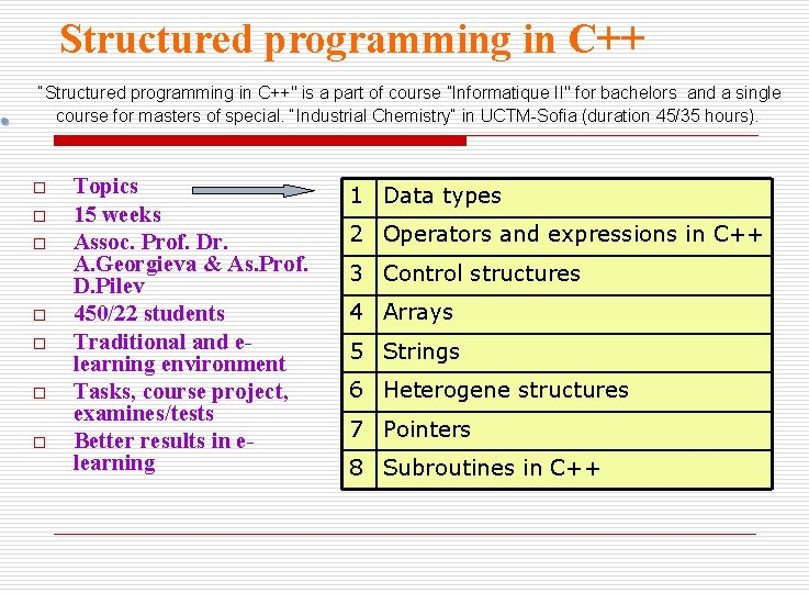 """Structured programming in C++ """"Structured programming in C++"""" is a part of course """"Informatique"""