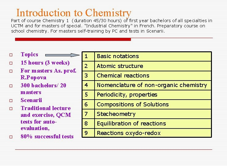 Introduction to Chemistry Part of course Chemistry 1 (duration 45/30 hours) of first year