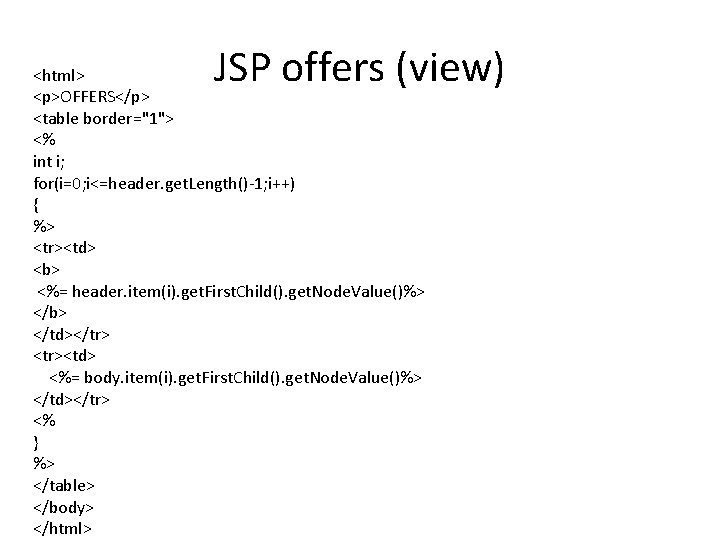 """JSP offers (view) <html> <p>OFFERS</p> <table border=""""1""""> <% int i; for(i=0; i<=header. get. Length()-1;"""