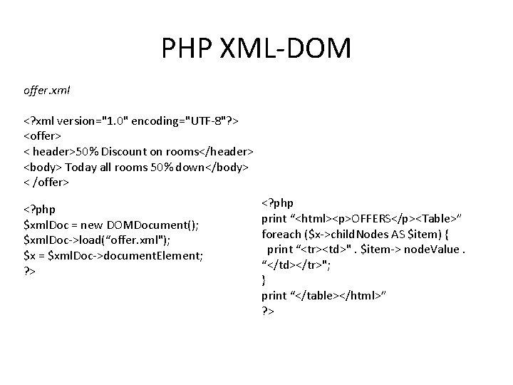 "PHP XML-DOM offer. xml <? xml version=""1. 0"" encoding=""UTF-8""? > <offer> < header>50% Discount"