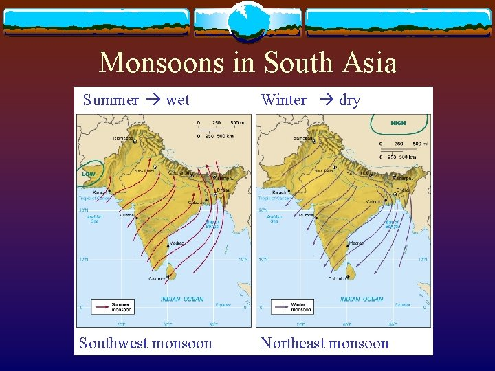 Monsoons in South Asia Summer wet Winter dry Southwest monsoon Northeast monsoon