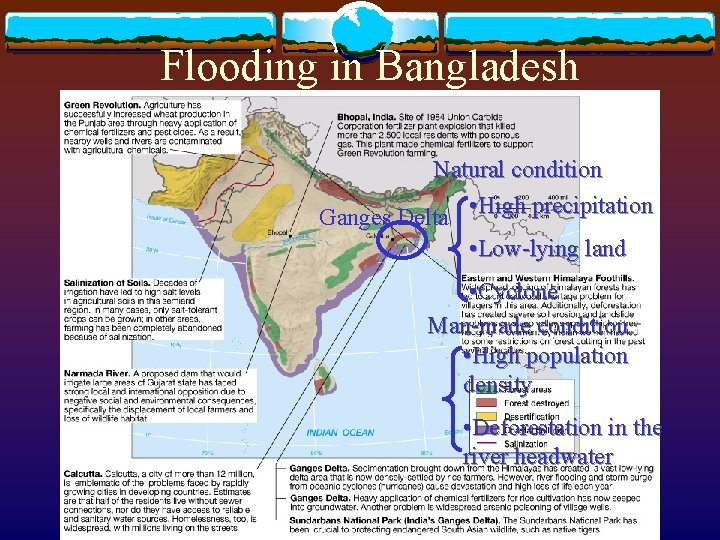Flooding in Bangladesh Natural condition Ganges Delta • High precipitation • Low-lying land •