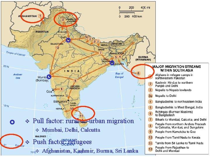v Pull factor: rural-to-urban migration v v Mumbai, Delhi, Calcutta Push factor: refugees v
