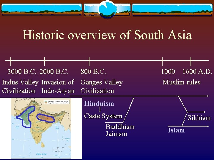 Historic overview of South Asia 3000 B. C. 2000 B. C. 800 B. C.