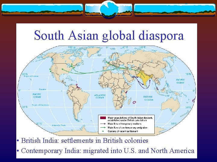 South Asian global diaspora • British India: settlements in British colonies • Contemporary India: